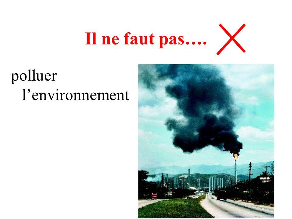 Il ne faut pas…. polluer l'environnement