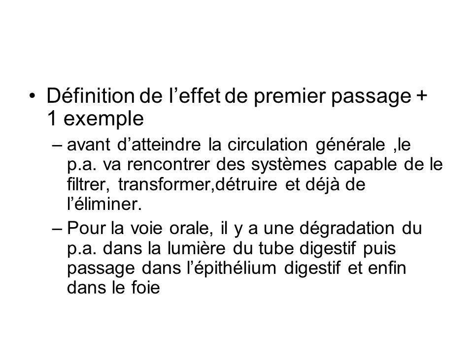 Définition de l'effet de premier passage + 1 exemple