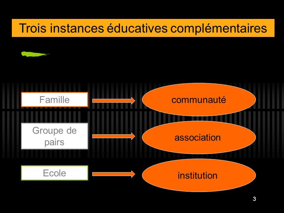 Trois instances éducatives complémentaires