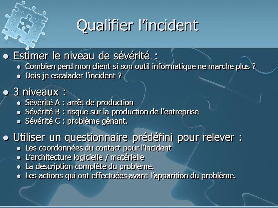 Qualifier l'incident Estimer le niveau de sévérité : 3 niveaux :