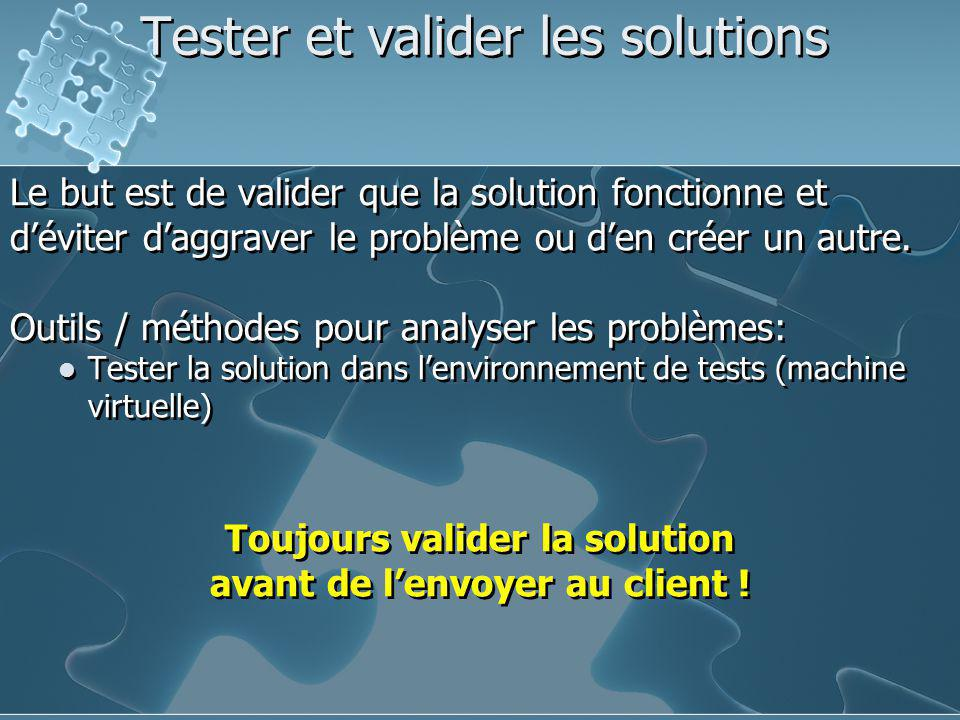Tester et valider les solutions