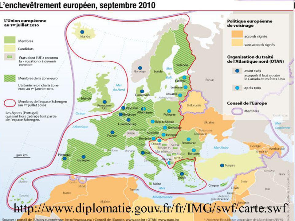 Se rendre sur le lien interactif du bas pour y voir plus clair : UE, Etats candidats, Conseil de l'Europe, Schengen
