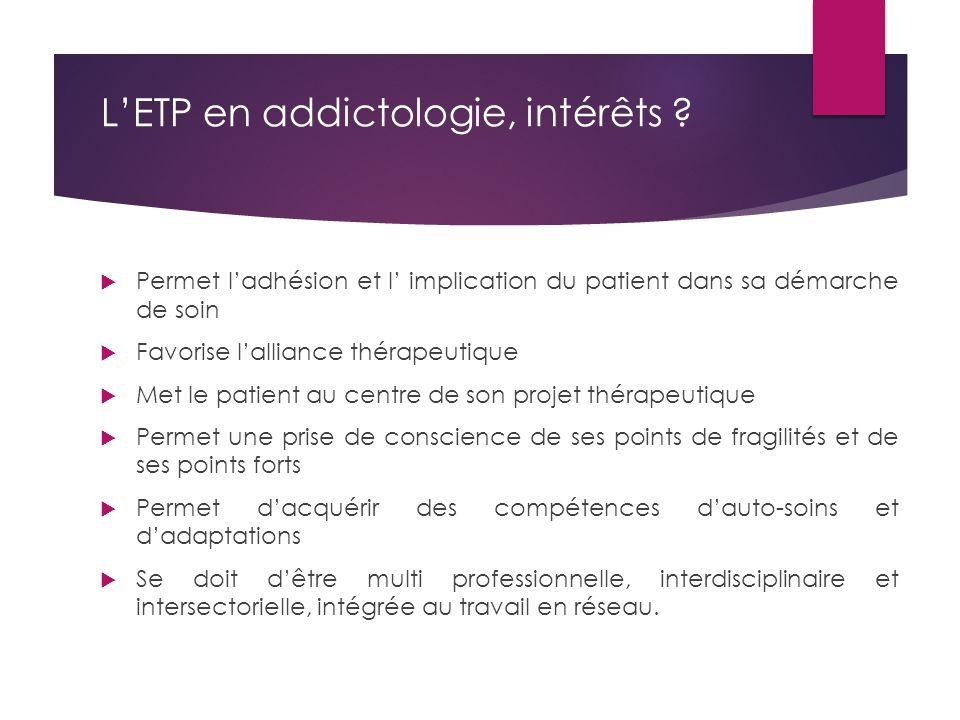 L'ETP en addictologie, intérêts