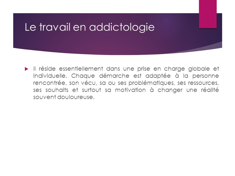 Le travail en addictologie