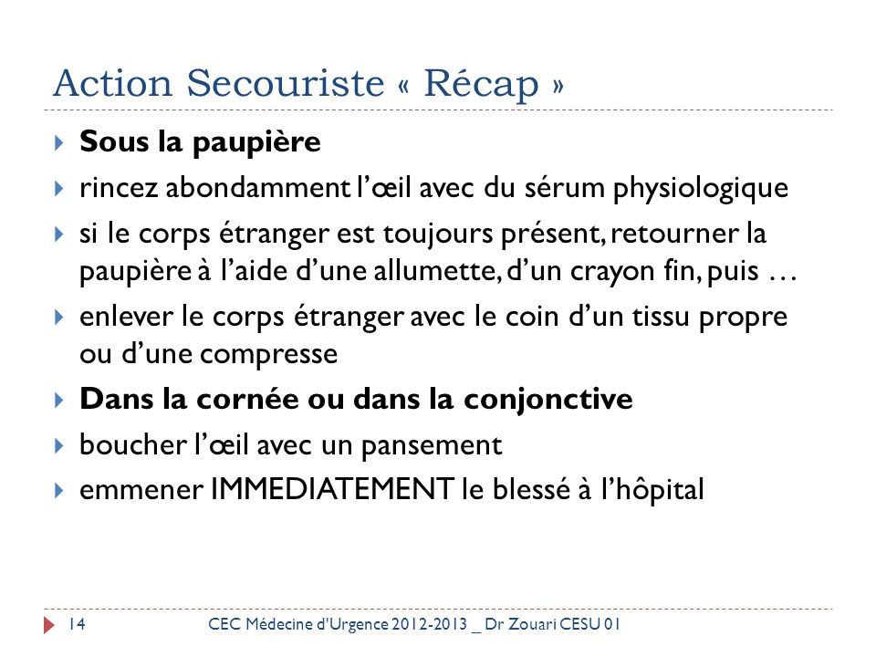 Action Secouriste « Récap »