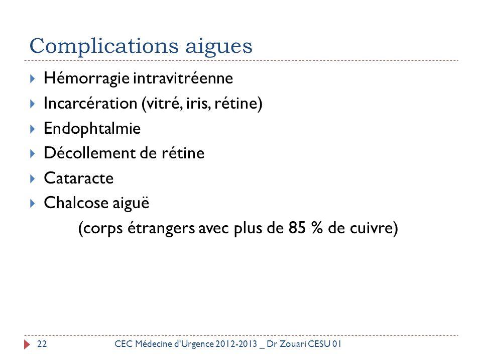 Complications aigues Hémorragie intravitréenne