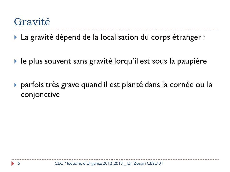 Gravité La gravité dépend de la localisation du corps étranger :