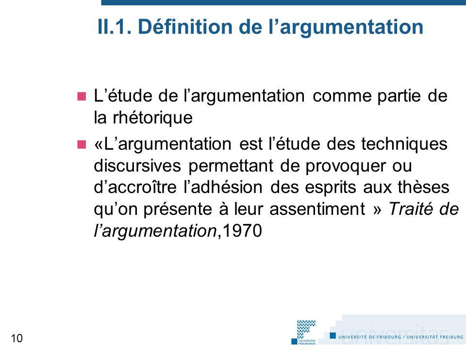II.1. Définition de l'argumentation