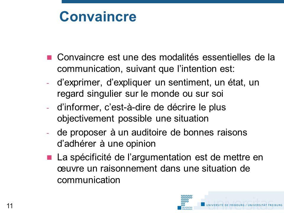 Convaincre Convaincre est une des modalités essentielles de la communication, suivant que l'intention est:
