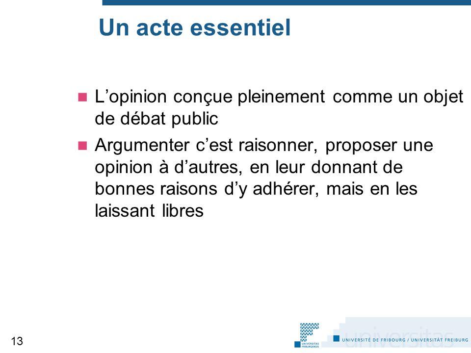Un acte essentiel L'opinion conçue pleinement comme un objet de débat public.