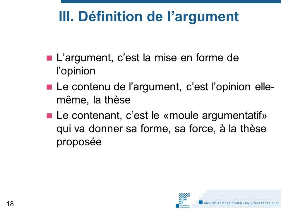 III. Définition de l'argument
