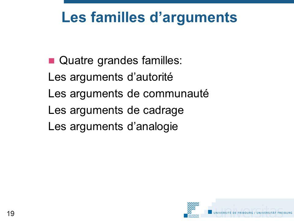 Les familles d'arguments