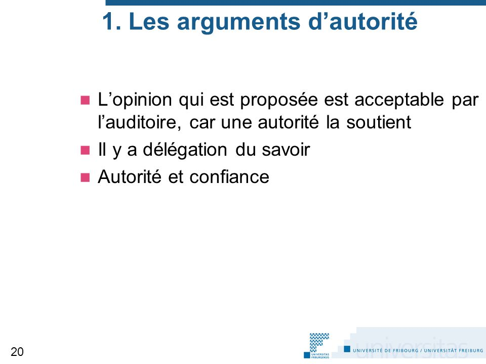 1. Les arguments d'autorité