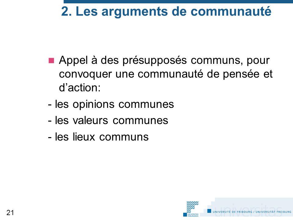 2. Les arguments de communauté