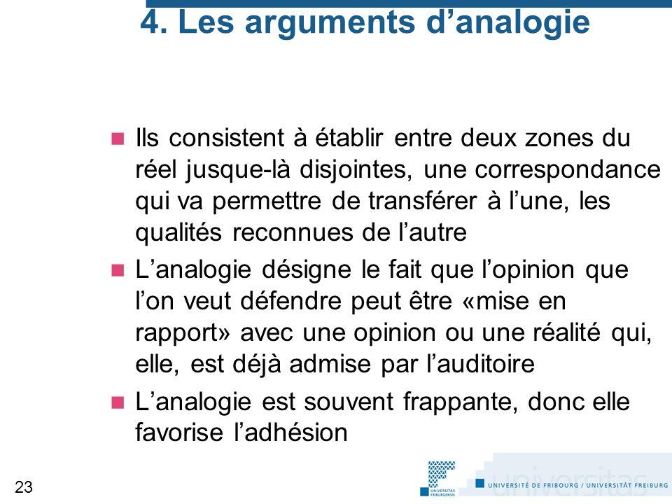 4. Les arguments d'analogie