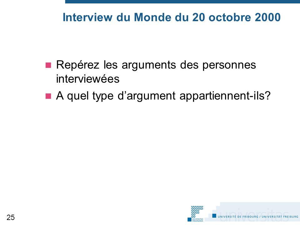 Interview du Monde du 20 octobre 2000