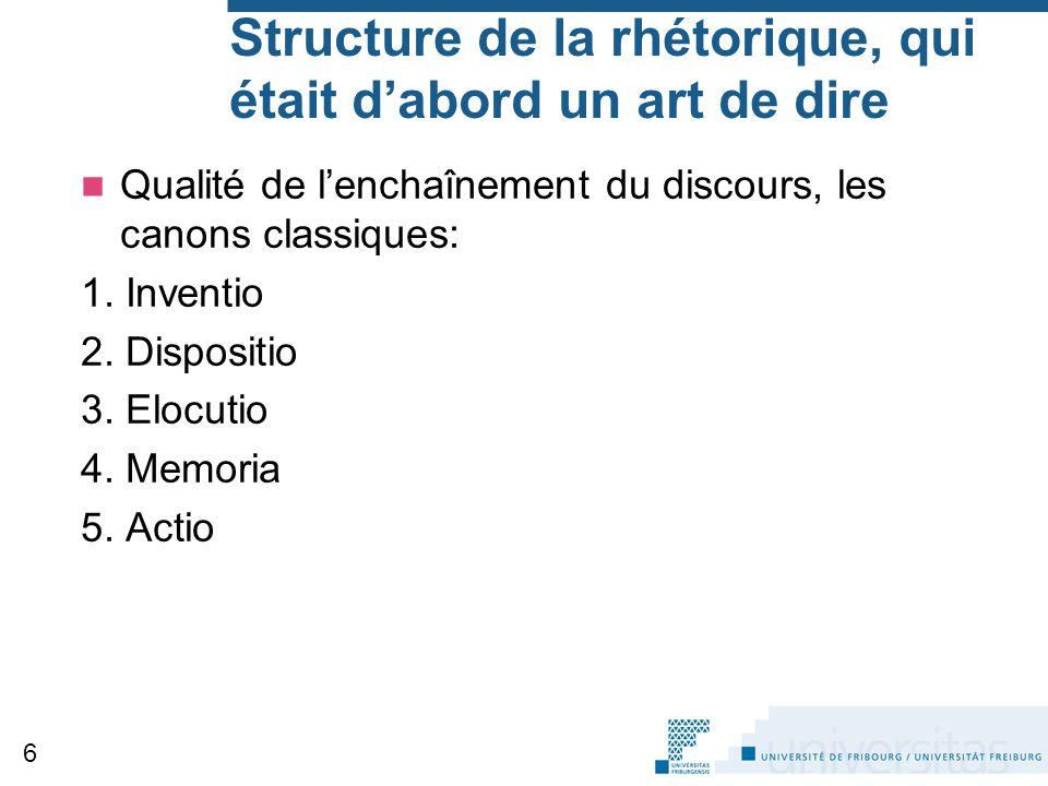 Structure de la rhétorique, qui était d'abord un art de dire
