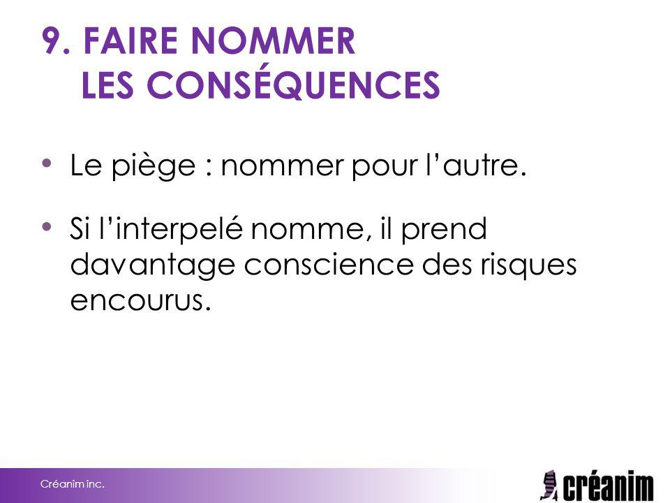 9. FAIRE NOMMER LES CONSÉQUENCES
