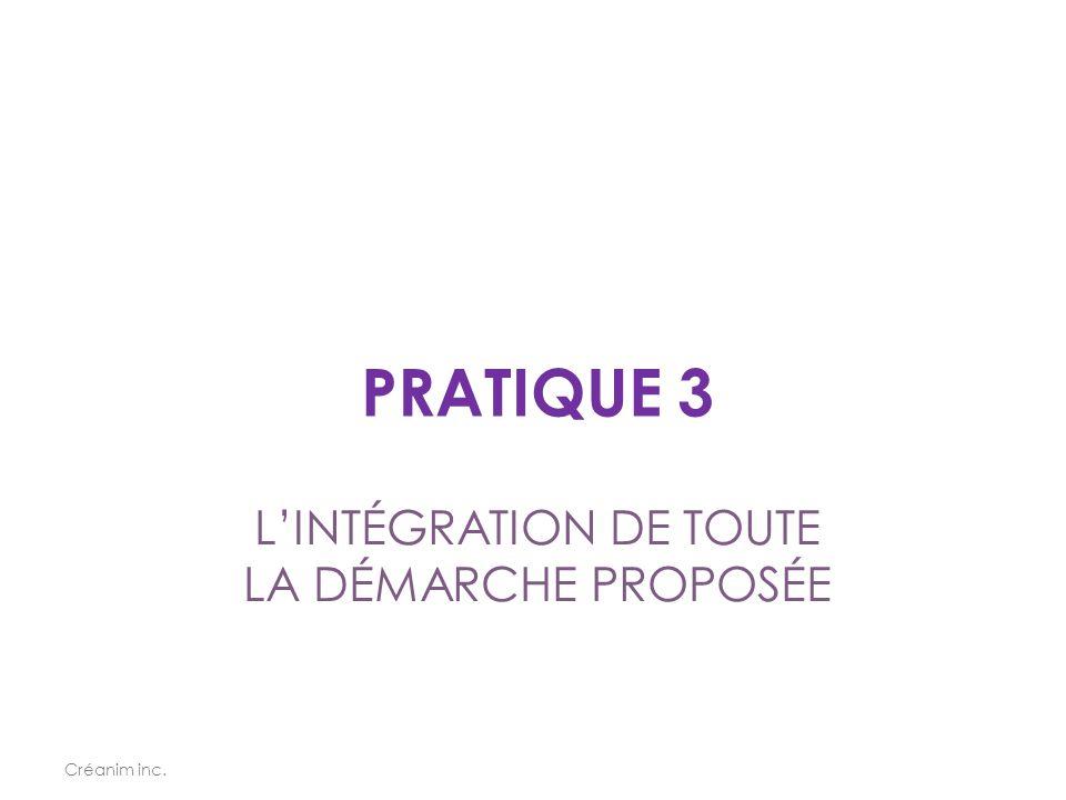 L'INTÉGRATION DE TOUTE LA DÉMARCHE PROPOSÉE