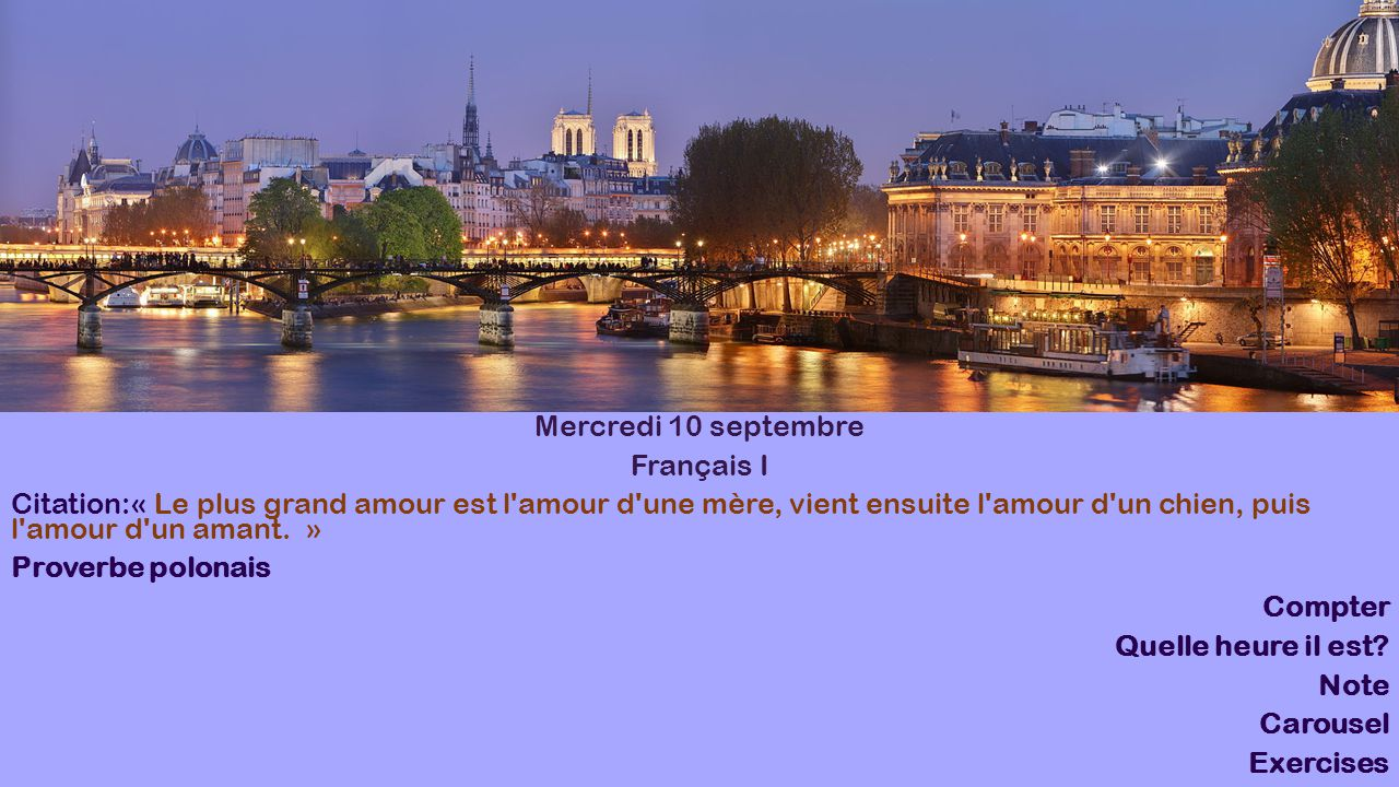 Mercredi 10 septembre Français I.