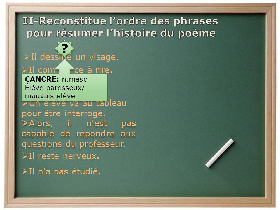 II-Reconstitue l'ordre des phrases pour résumer l'histoire du poème