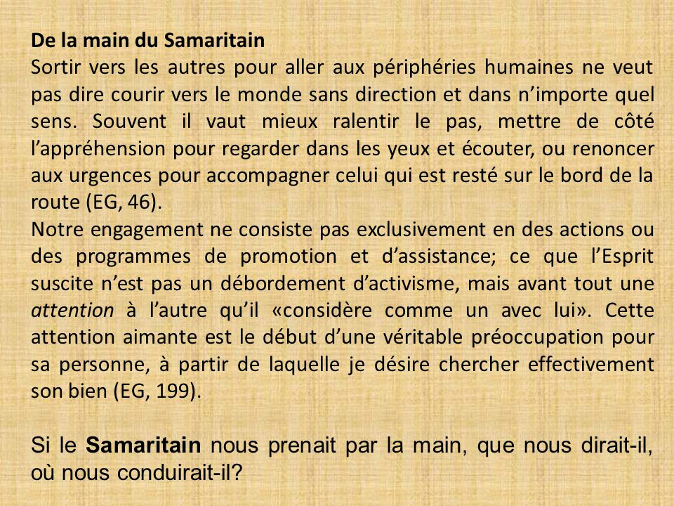 De la main du Samaritain