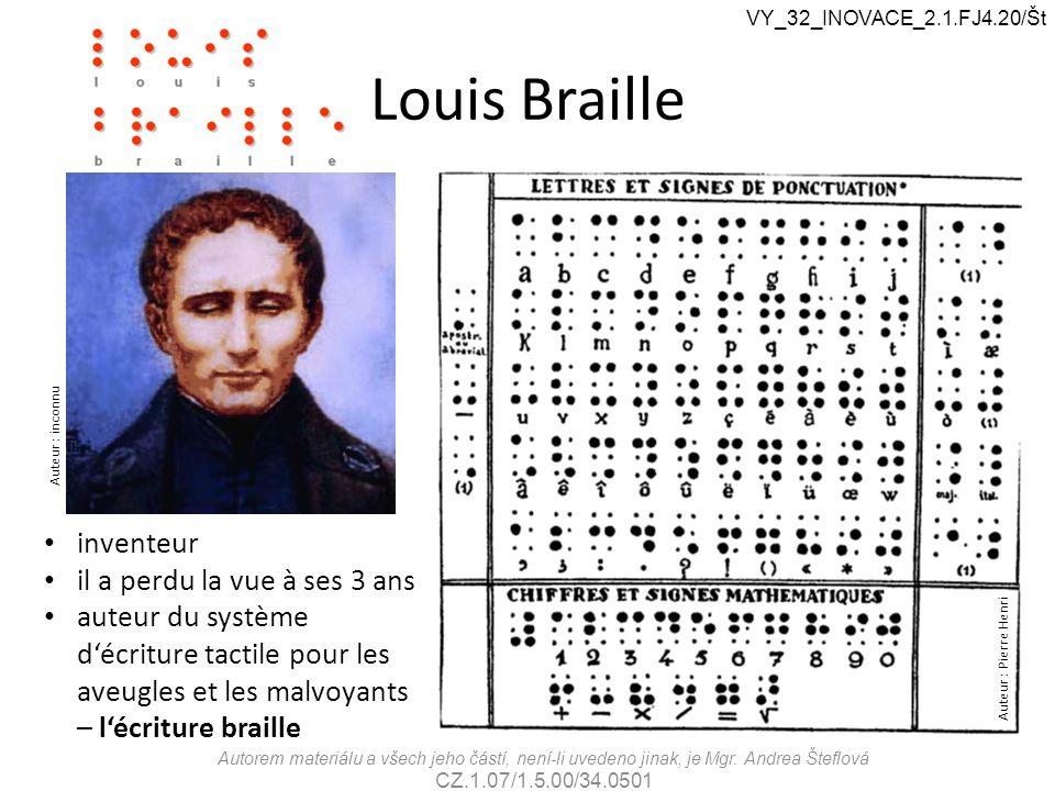 Louis Braille inventeur il a perdu la vue à ses 3 ans