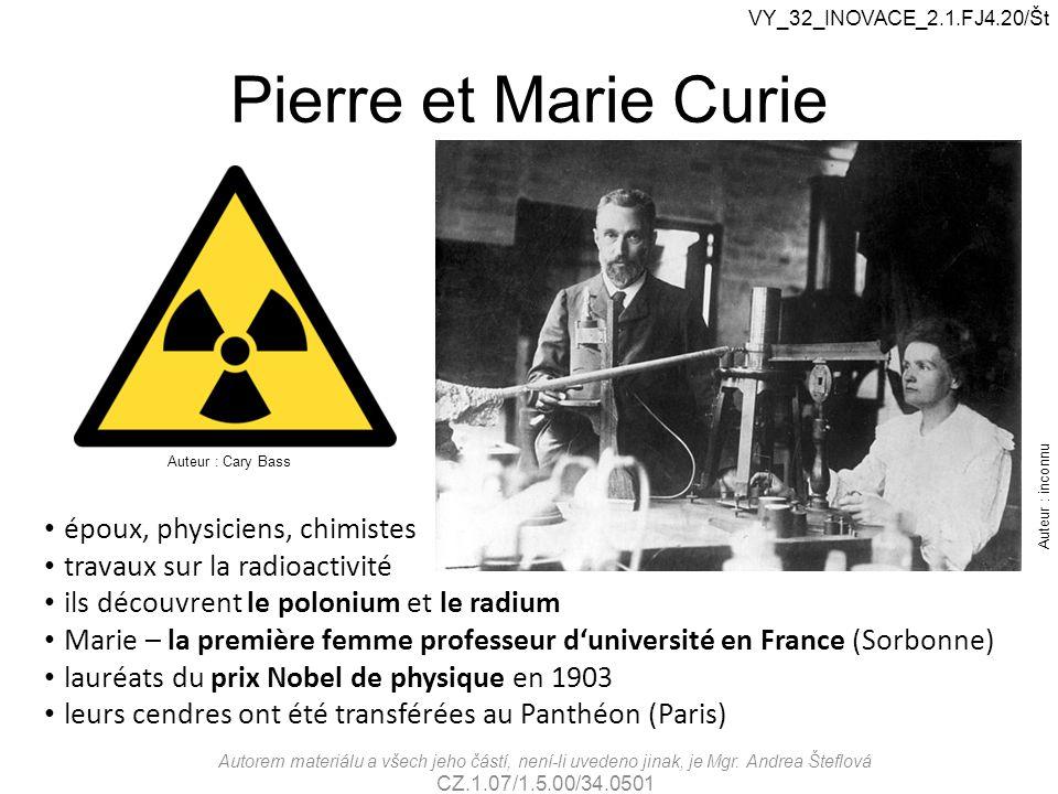 Pierre et Marie Curie époux, physiciens, chimistes