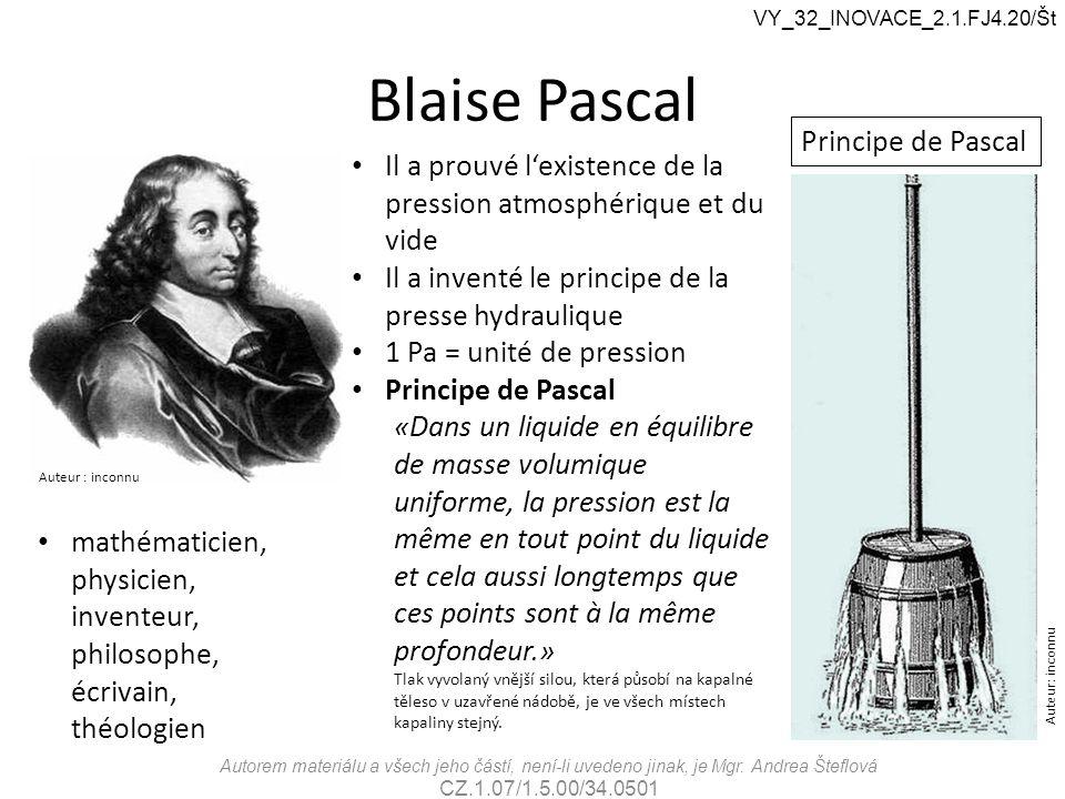 Blaise Pascal Principe de Pascal