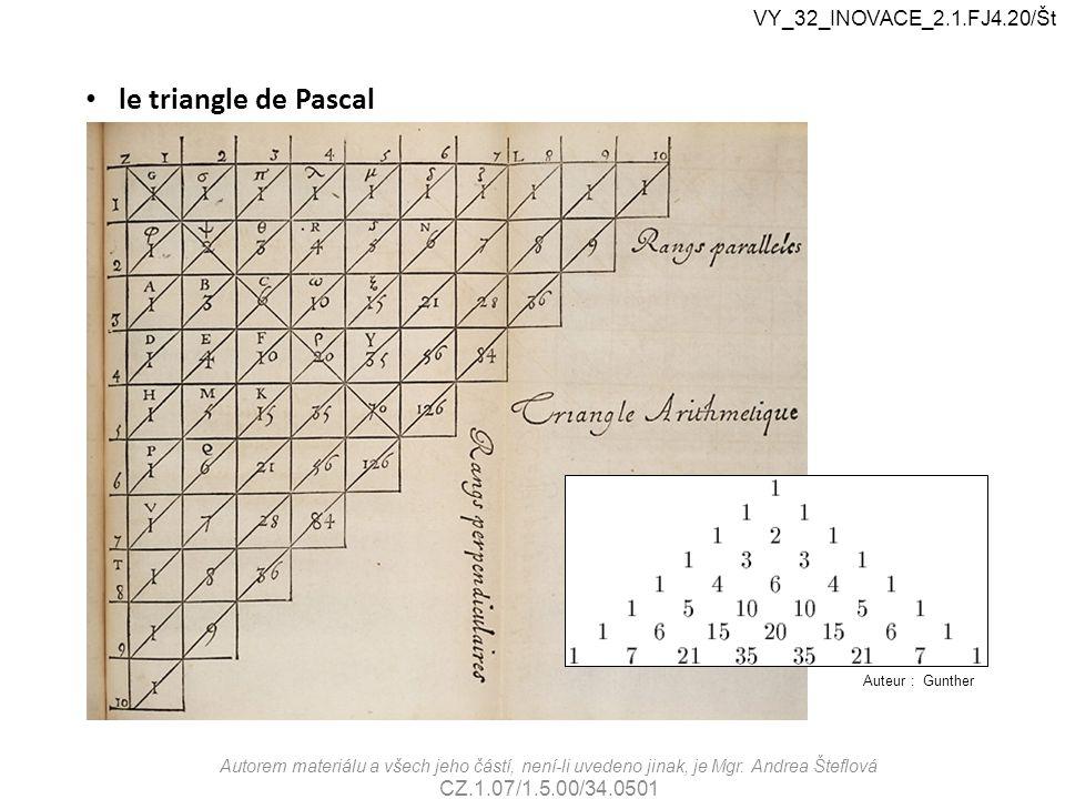 le triangle de Pascal VY_32_INOVACE_2.1.FJ4.20/Št