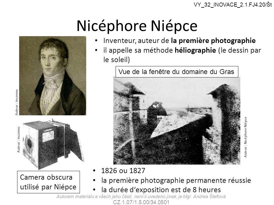 Nicéphore Niépce Inventeur, auteur de la première photographie