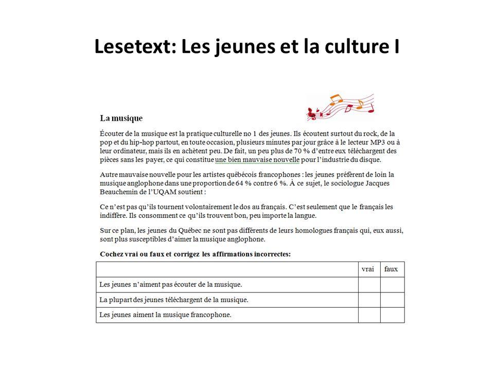 Lesetext: Les jeunes et la culture I