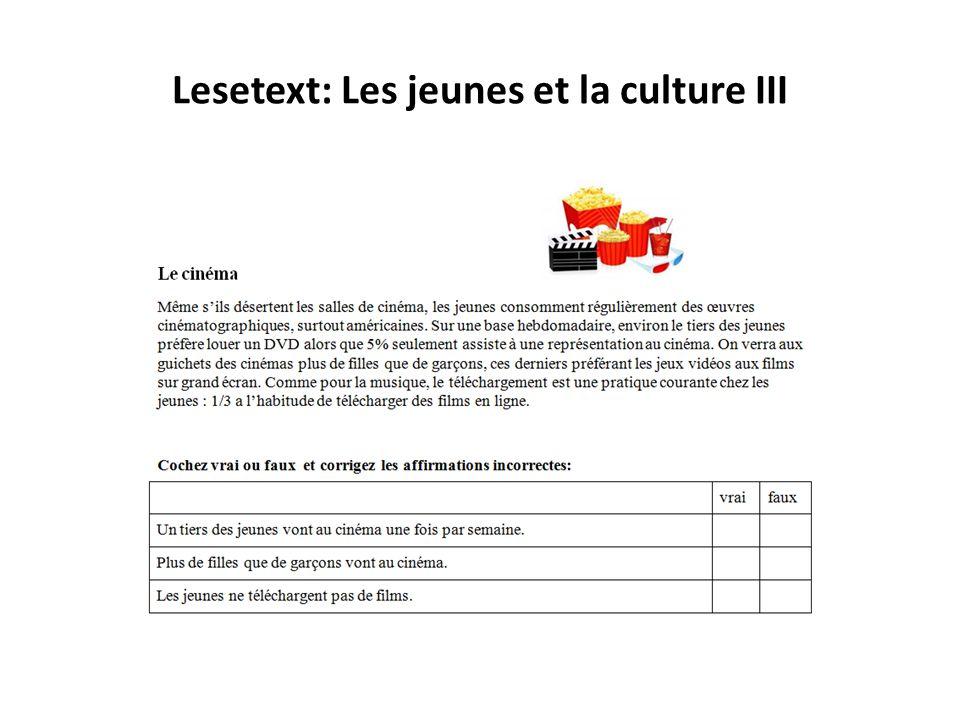 Lesetext: Les jeunes et la culture III