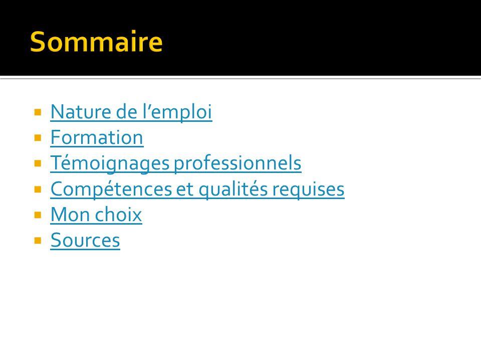 Sommaire Nature de l'emploi Formation Témoignages professionnels