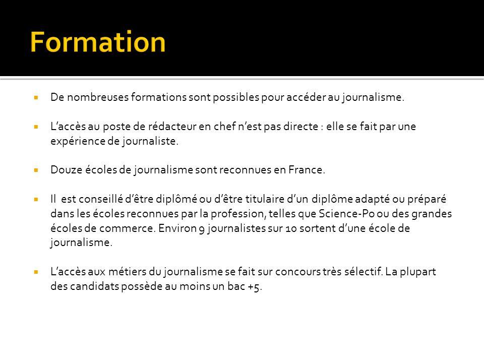 Formation De nombreuses formations sont possibles pour accéder au journalisme.