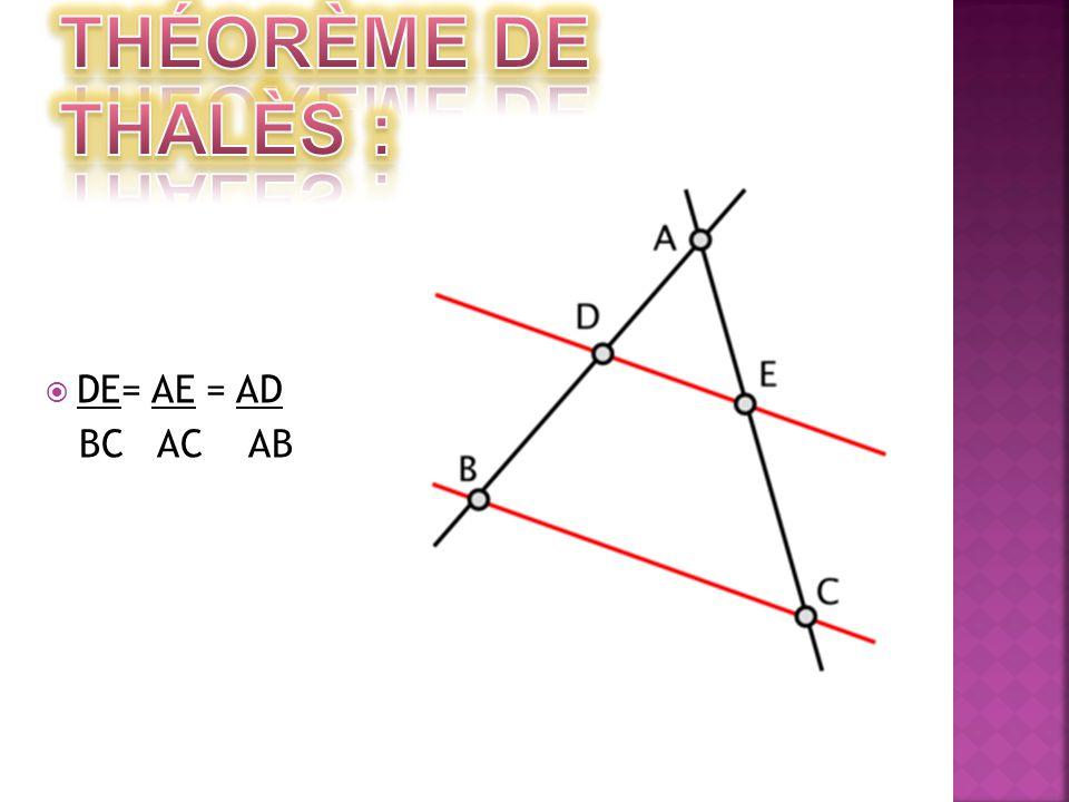 Théorème de Thalès : DE= AE = AD BC AC AB