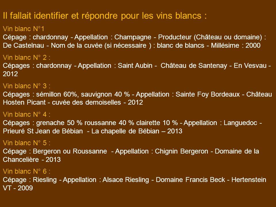 Il fallait identifier et répondre pour les vins blancs :