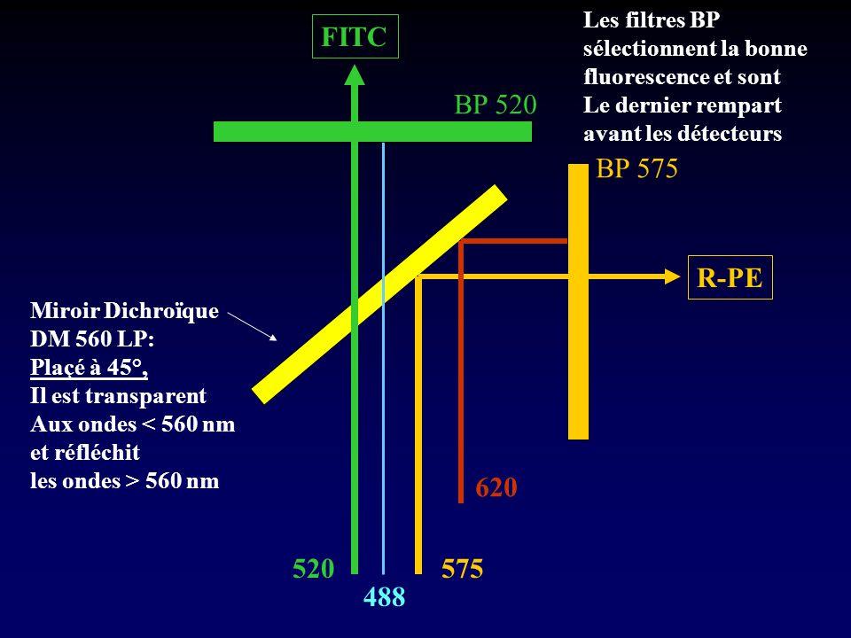 FITC BP 520 BP 575 R-PE 620 520 575 488 Les filtres BP