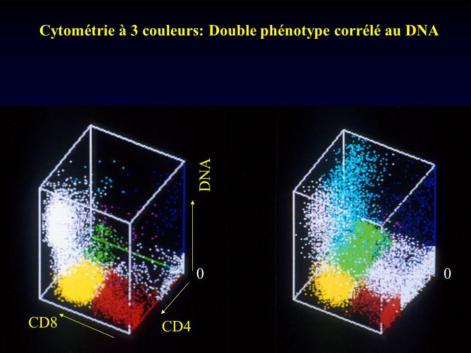 Cytométrie à 3 couleurs: Double phénotype corrélé au DNA
