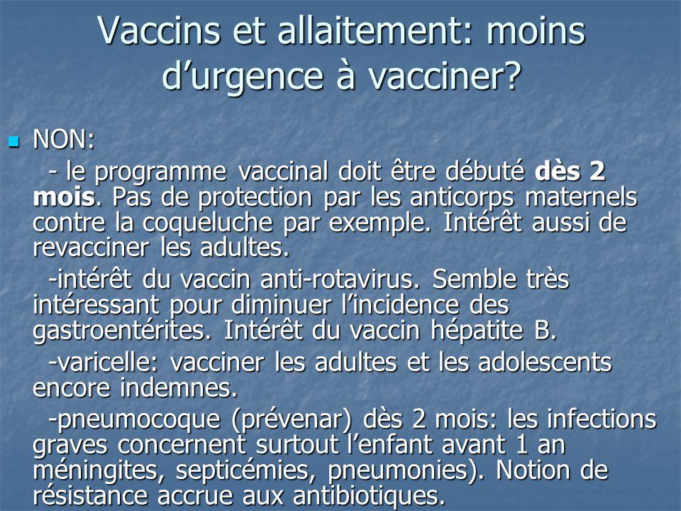 Vaccins et allaitement: moins d'urgence à vacciner