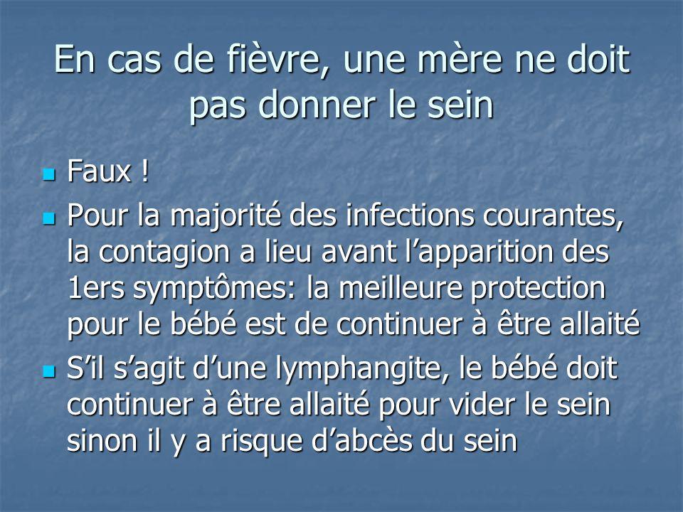 En cas de fièvre, une mère ne doit pas donner le sein