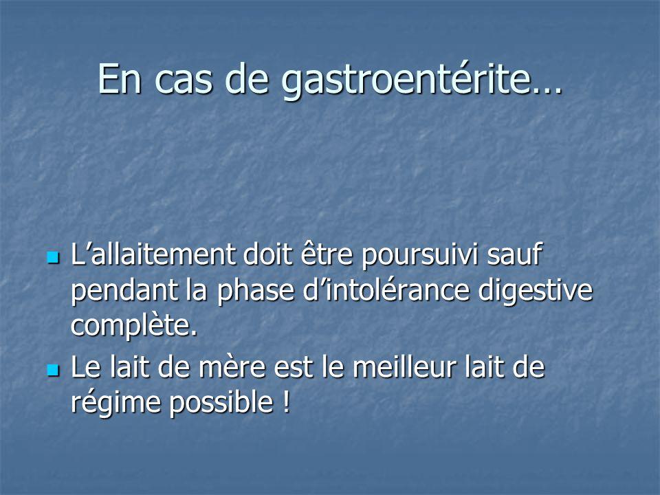 En cas de gastroentérite…