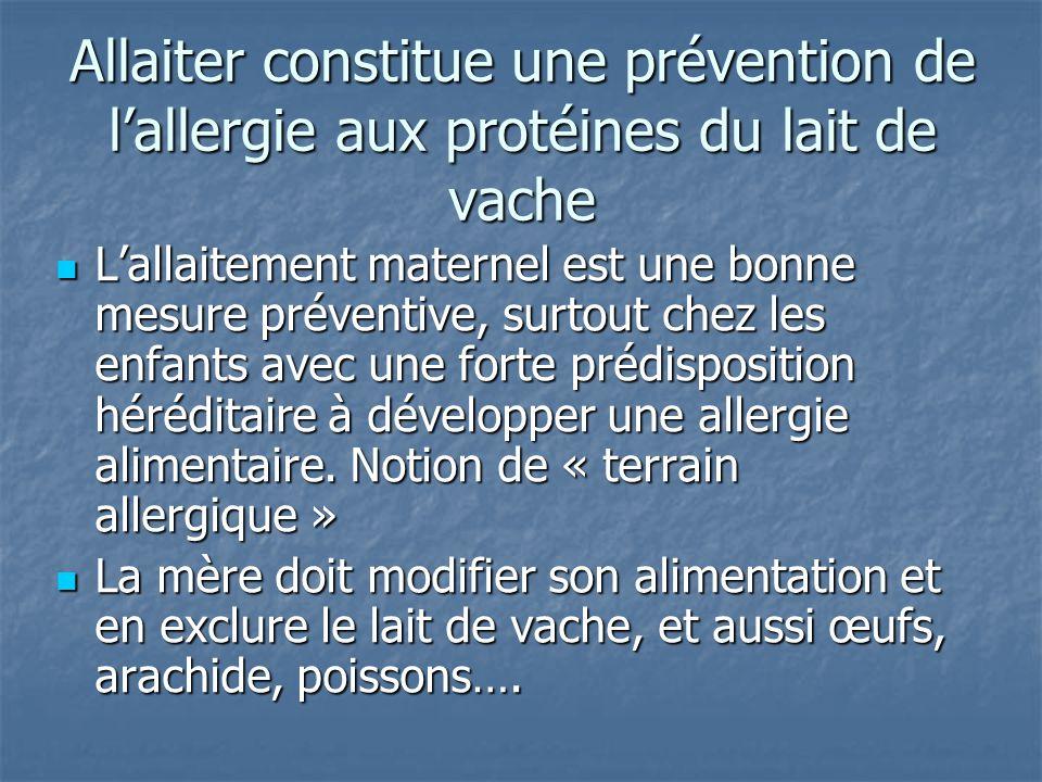 Allaiter constitue une prévention de l'allergie aux protéines du lait de vache