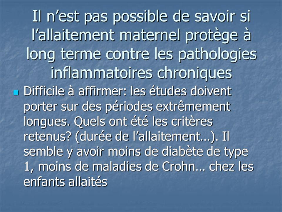 Il n'est pas possible de savoir si l'allaitement maternel protège à long terme contre les pathologies inflammatoires chroniques