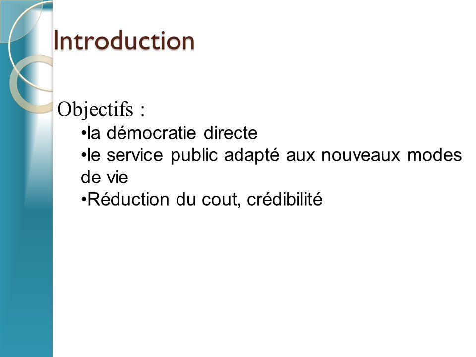 Introduction Objectifs : la démocratie directe