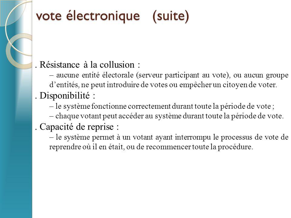 vote électronique (suite)