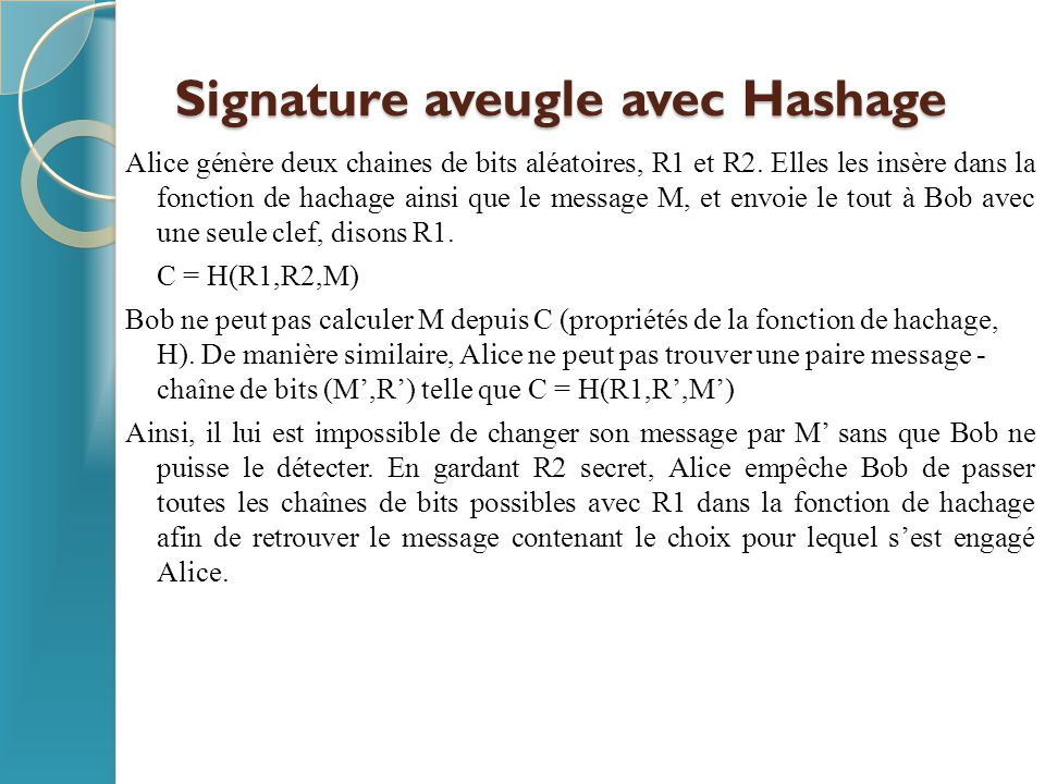 Signature aveugle avec Hashage