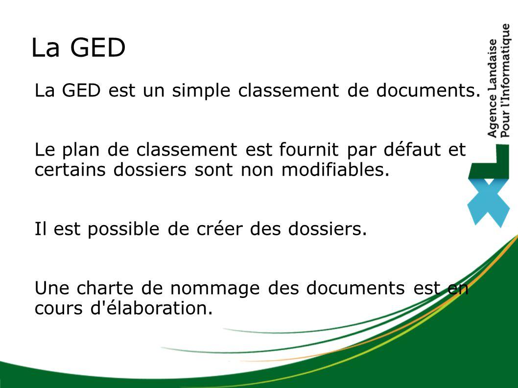 La GED La GED est un simple classement de documents.