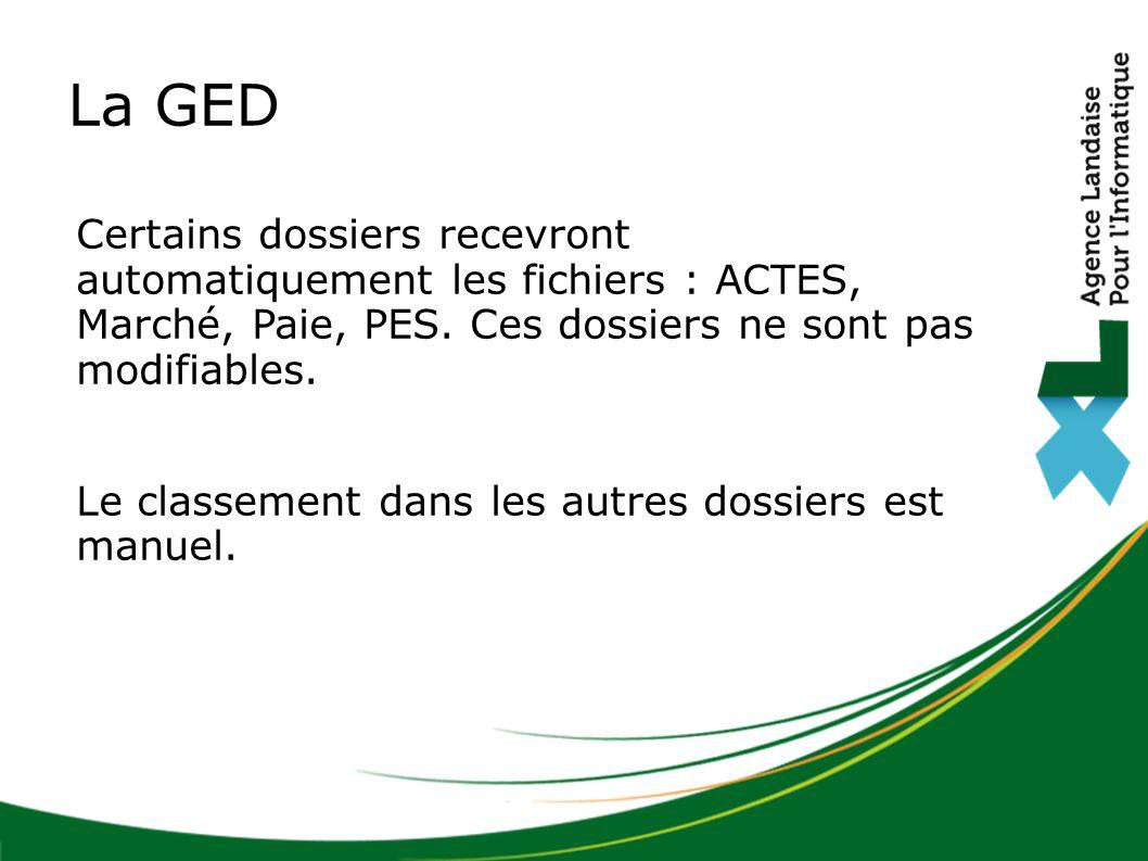 La GED Certains dossiers recevront automatiquement les fichiers : ACTES, Marché, Paie, PES. Ces dossiers ne sont pas modifiables.
