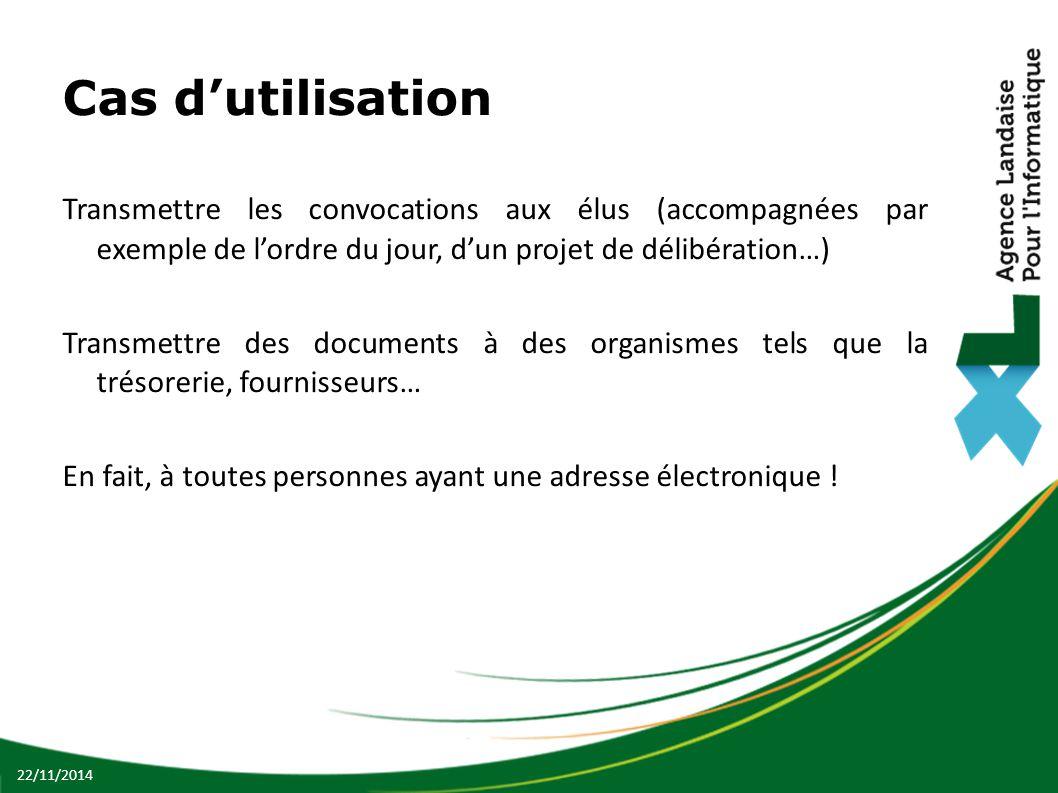 Cas d'utilisation Transmettre les convocations aux élus (accompagnées par exemple de l'ordre du jour, d'un projet de délibération…)